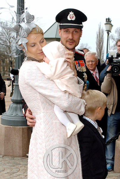 The Christening of Crown Prince Haakon & Crown Princess Mette-Marit's daughter Princess Ingrid Alexandra at The Royal Palace in Oslo..