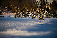 Snowmobiling near Munising on Michigan's Upper Peninsula.