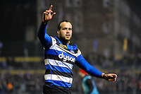 Michael van Vuuren of Bath Rugby celebrates a try. Anglo-Welsh Cup match, between Bath Rugby and Gloucester Rugby on January 27, 2017 at the Recreation Ground in Bath, England. Photo by: Patrick Khachfe / Onside Images