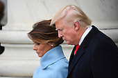 United States President Donald Trump and Melania Trump depart the 2017 Presidential Inauguration at the US Capitol in Washington, DC on January 20, 2017.<br /> Credit: Jack Gruber / Pool via CNP