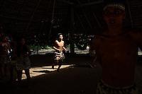 Near Iquitos, Peru, September 14, 2013 - Bora natives performing a tribal dance.