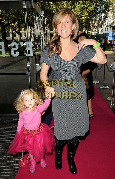 Dress pink holding hands mother mum mom black knee high boots tutu