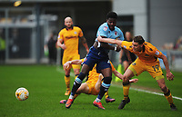 Blackpool's Bright Osayi-Samuel under pressure from Newport County's Sid Nelson<br /> <br /> Photographer Kevin Barnes/CameraSport<br /> <br /> The EFL Sky Bet League Two - Saturday 18th March 2017 - Newport County v Blackpool - Rodney Parade - Newport<br /> <br /> World Copyright &copy; 2017 CameraSport. All rights reserved. 43 Linden Ave. Countesthorpe. Leicester. England. LE8 5PG - Tel: +44 (0) 116 277 4147 - admin@camerasport.com - www.camerasport.com