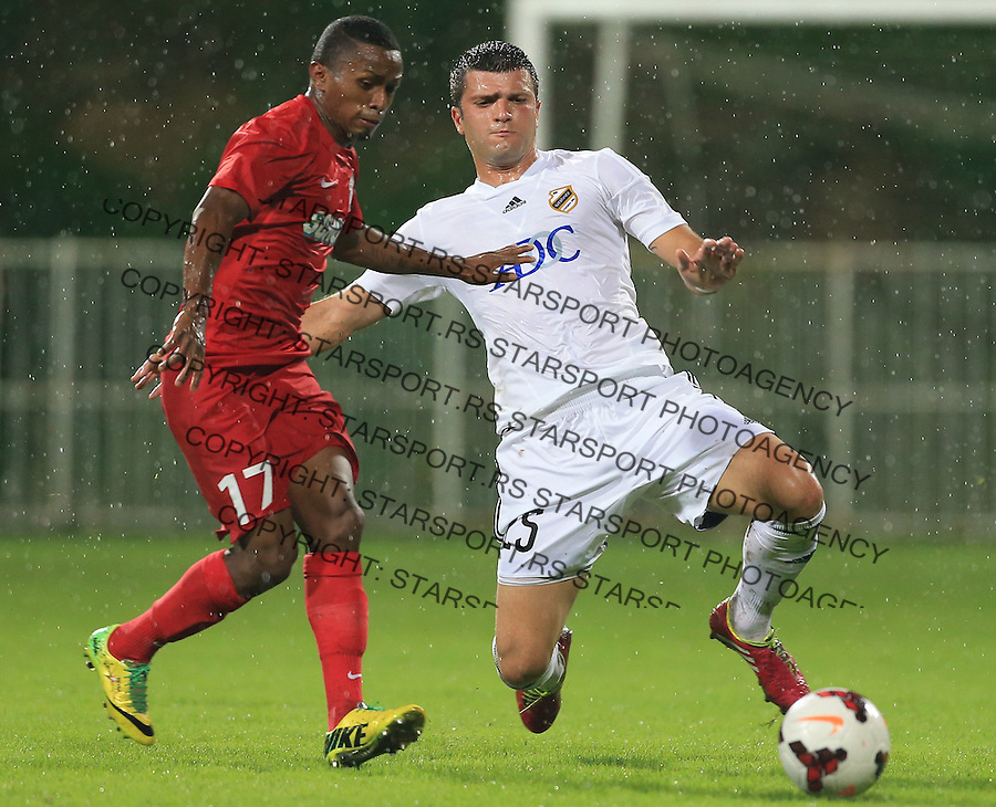 Fudbal Football Soccer<br /> UEFA Europa league-Second qualifying round, First leg<br /> Cukaricki v Grodig Austria<br /> Yordy Reyna (L) and Dejan Boljevic<br /> Beograd, 07.17.2014.<br /> foto: Srdjan Stevanovic/Starsportphoto &copy;