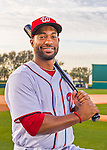 28 February 2016: Washington Nationals outfielder Brian Goodwin poses for his Spring Training Photo-Day portrait at Space Coast Stadium in Viera, Florida. Mandatory Credit: Ed Wolfstein Photo *** RAW (NEF) Image File Available ***