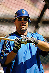 11 April 2006: Ramon Castro, catcher for the New York Mets, awaits his turn in the batting cage prior to the Washington Nationals' Home Opener at RFK Stadium, in Washington, DC. The Mets defeated the Nationals 7-1 to maintain their lead in the NL East...Mandatory Photo Credit: Ed Wolfstein Photo..