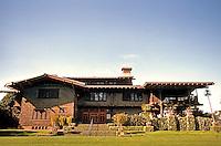 Greene & Greene: Gamble House, Frontal elevation. 28MM wide angle.  Photo '87.