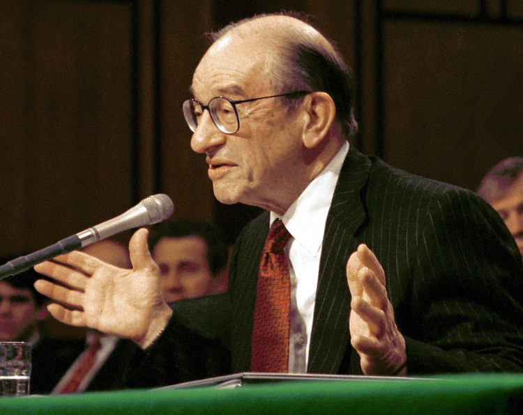 1Greenspan021301 -- Federal Reserve chairman Allen Greenspan speaks on monetary policy.