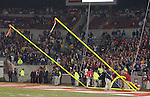 25 November 2006: Field staff take down the goalposts before the end of the game. The East Carolina University Pirates defeated the North Carolina State University Wolfpack 21-16 at Carter Finley Stadium in Raleigh, North Carolina in an NCAA Division I College Football game.
