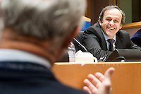 UEFA President Michel Platini during a conference on the future of soccer in Europe at the European Parliament (EP) in  Brussels, Belgium on 2009-02-18  Platini told the EP that unless his plan of capping transfer and wage spending was introduced, the European game could financially implode .  &copy; by Wiktor Dabkowski