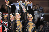 November 8, 2008; Durango, Spain (near Bilbao); Rhythmic gymnasts from Russia (Moscow) senior group celebrate 3rd place win during awards ceremony at 2008 Euskalgym International..