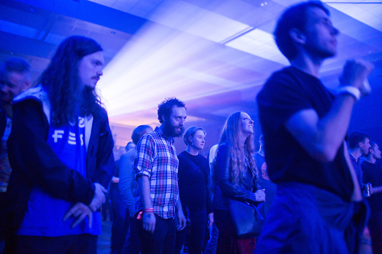 Durham, North Carolina - Thursday May 19, 2016 - Attendees watch and dance as UV Boi performs at The Armory Thursday night during Moogfest in Durham, NC.