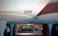 F.L. Wright: Johnson's Wax. Collonades, Entrance.  Photo '77.