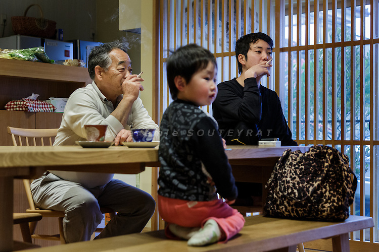 Soma, Fukushima prefecture, April 14 2015 - In the house of the Kikuchi family, a fischermen faily touched by the nuclear crisis in Fukushima. The Kikuchi's can go fishing only once a week. Compared to before the accident, half of the species fished are below the radioactive limit and allowed to be sold.