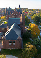 Aerial view of the Billings Library, Williams Art Hall and University Place, Fall UVM Campus