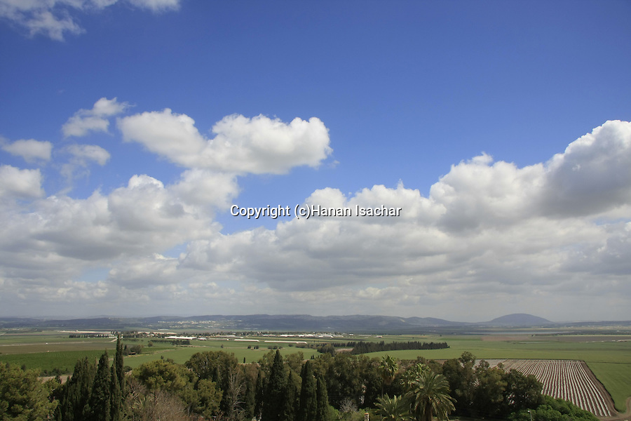 Israel, Jezreel valley. A view of Jezreel valley from Tel Megiddo, Mount Tabor is in the background