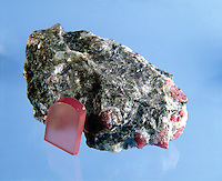 UNCUT RUBY (Corundum)<br /> With Boule ruby (Synthetic)<br /> Al2O3<br />  Matrix of Bauxite.