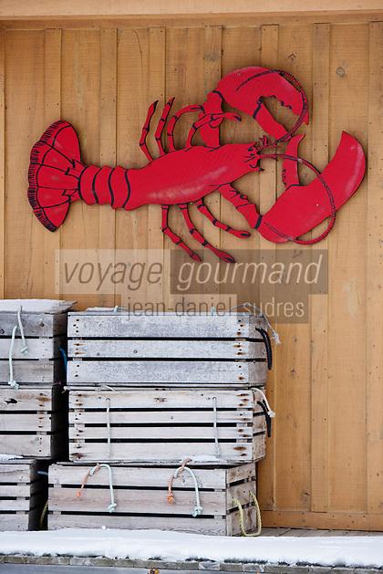 Amérique/Amérique du Nord/Canada/Québec/ Env de Québec/Île d'Orléans/ Sainte-Famille-de-l'Île-d'Orléans: Auberge: Au poste de traite - détail de la décoration extérieure: homard canadien