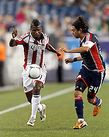 Chivas USA midfielder Miller Bolanos (17) on the wing. In a Major League Soccer (MLS) match, the New England Revolution tied Chivas USA, 3-3, at Gillette Stadium on August 29, 2012.