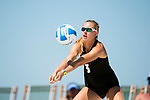 GULF SHORES, AL - MAY 07: Amy Ozee (3) of the University of Hawaii hits the ball during the Division I Women's Beach Volleyball Championship held at Gulf Place on May 7, 2017 in Gulf Shores, Alabama.Pepperdine defeated Hawaii 3-0 to advance to the championship game.  (Photo by Stephen Nowland/NCAA Photos via Getty Images)