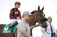 Musical Romance, jockey Juan Leyva and Pinnacle Racing Stable connections head into the winners circle after winning the Inside Information Stakes(G2) at Gulfstream Park. Hallandale Beach, Florida. 03-17-2012