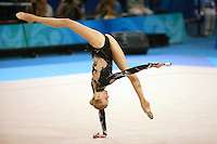 August 23, 2008; Beijing, China; Rhythmic gymnast Olga Kapranova of Russia performs front walkover with clubs routine on way to placing 4th in the All-Around final at 2008 Beijing Olympics.
