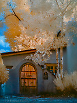 Gateway with Two Aspens, Taos, New Mexico (Infrared) ©2017 James D Peterson.  The charm of treaditional New Mexico architecture is everywhere in this historic town, and an infrared image casts it in a new light.