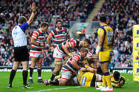 Logovi'i Mulipola of Leicester Tigers crosses the try-line. Aviva Premiership match, between Leicester Tigers and Worcester Warriors on October 8, 2016 at Welford Road in Leicester, England. Photo by: Patrick Khachfe / JMP