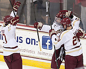 Destry Straight (BC - 17), Kevin Hayes (BC - 12), Bill Arnold (BC - 24) - The Boston College Eagles defeated the visiting University of New Hampshire Wildcats 5-2 on Friday, January 11, 2013, at Kelley Rink in Conte Forum in Chestnut Hill, Massachusetts.