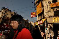 Street scenes on East Nanjing Road intersection in Shanghai.