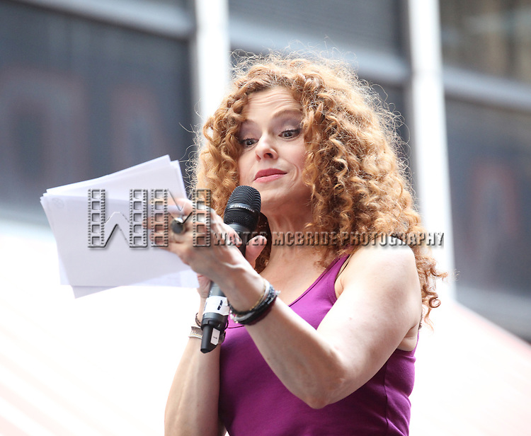 Bernadette Peters .onstage at Broadway Barks 14 at the Booth Theatre on July 14, 2012 in New York City. Marking its 14th anniversary, Broadway Barks!, founded by Bernadette Peters and Mary Tyler Moore helps many of New York City's shelter animals find permanent homes and also inform New Yorkers about the plight of the thousands of homeless dogs and cats in the metropolitan area.