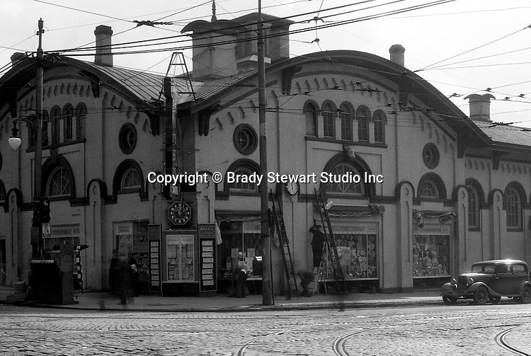 Pittsburgh PA: The North Side Market House was located at Ohio and Federal streets. Fresh fruits, vegatables, breads and meats were available for wholesale and retail customers.  There was a sister Market House across town in East Liberty - 1936.  The Northside Market was razed in 1965 to make room for the new office and mall complex, Allegheny Center.
