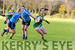 Anna Galvin Kerry powers past Fiona Hudson Dublin during the NFL in Castleisland on Sunday