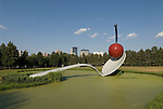 Minnesota, Twin Cities, Minneapolis-Saint Paul: Sculpture Spoonbridge and Cherry by Claes Oldenburg at the Minnesota Sculpture Garden next to the Walker Art Center..Photo mnqual202-74966..Photo copyright Lee Foster, www.fostertravel.com, 510-549-2202, lee@fostertravel.com.