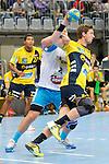 GER - Mannheim, Germany, September 23: Players warm-up before the DKB Handball Bundesliga match between Rhein-Neckar Loewen (yellow) and TVB 1898 Stuttgart (white) on September 23, 2015 at SAP Arena in Mannheim, Germany.  Hendrik Pekeler #23 of Rhein-Neckar Loewen<br /> <br /> Foto &copy; PIX-Sportfotos *** Foto ist honorarpflichtig! *** Auf Anfrage in hoeherer Qualitaet/Aufloesung. Belegexemplar erbeten. Veroeffentlichung ausschliesslich fuer journalistisch-publizistische Zwecke. For editorial use only.