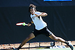 13 May 2016: Wake Forest's Skander Mansouri (FRA). The Wake Forest University Demon Deacons hosted the Coastal Carolina University Chanticleers at the Wake Forest Tennis Center in Winston-Salem, North Carolina in a 2015-16 NCAA Division I Men's Tennis Tournament First Round match. Wake Forest won the match 4-0.
