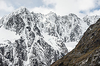 Darran Mountains after fresh snowfall, Fiordland National Park, Southland, UNESCO World Heritage Area, New Zealand, NZ