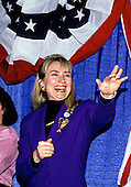 Hillary Rodham Clinton, wife of Governor Bill Clinton (Democrat of Arkansas) attends a rally for her husband at Hesser Business College in Manchester, New Hampshire on February 17, 1992.  The Clintons were campaigning in advance of New Hampshire's &quot;First in the Nation&quot; presidential primary.<br /> Credit: Ron Sachs / CNP