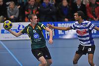 KORFBAL: GORREDIJK: Sport- en Ontspanningscentrum Kortezwaag, 27-11-2013, LDODK - AKC BLAUW WIT, Eindstand 25-28, André Zwart (#15   LDODK), Gerald van Dijk (#13   AKC), ©foto Martin de Jong