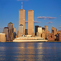 Celebrity Cruise Ship, Golden Twin Towers, World Trade Center, Manhattan, New York City, NY, designed by Minoru Yamasaki, International Style II, sunset
