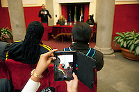 Italy. Piedmont region. Turin. Palazzo Civico, headoffice for the Turin City Administration and the Municipality. A group of national ambassadors against tuberculosis (WHO) during a lecture in the Palazzo Civico. Stop TB Partnership. Snapshoot with a tablet BlackBerry PlayBook. 6.12.2011 © WHO /Didier Ruef