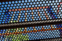 Playground equipment comes alive as a colorful abstract of geometric shapes.
