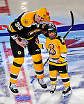 24 January 2009: Boston Bruins' defenseman Zdeno Chara accepts the award for the Hardest Shot, attaining a new NHL record with a speed of 105.4 miles per hour in the NHL SuperSkills Competition, part of the All-Star Weekend at the Bell Centre in Montreal, Quebec, Canada. ***** Editorial Sales Only ***** Mandatory Photo Credit: Ed Wolfstein Photo