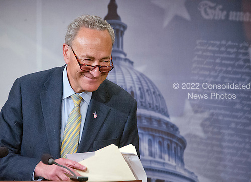 United States Senator Chuck Schumer (Democrat of New York) departs after holding a press conference in the Capitol in Washington, DC on Tuesday, March 22, 2016.  In his prepared remarks the Senator condemned today's bombings in Brussels and called on US Senate Republicans to meet Judge Garland and hold confirmation hearings ad a vote on his nomination to replace Justice Scalia on the US Supreme Court. <br /> Credit: Ron Sachs / CNP<br /> (RESTRICTION: NO New York or New Jersey Newspapers or newspapers within a 75 mile radius of New York City)