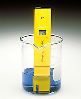 pH METER &amp; INDICATOR: BROMOTHYMOL BLUE pH Range 3.5-9.5 <br /> (2 of 3)<br /> Sodium hypochlorite(aq) has a pH &gt;7. Indicator color is blue.