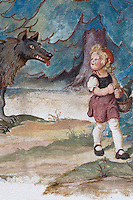 Detail of mural of Grimms Fairy Tale story Little Red Riding Hood in the village of Oberammergau, Bavaria, Germany