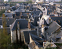 AA00407-04...FRANCE - Slate covered roofs on the old fortified town of Chinon.