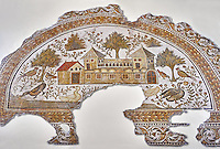 4th century AD Roman mosaic depiction of Roman Villa farms in Africa. The Bardo Museum, Tunis, Tunisia.
