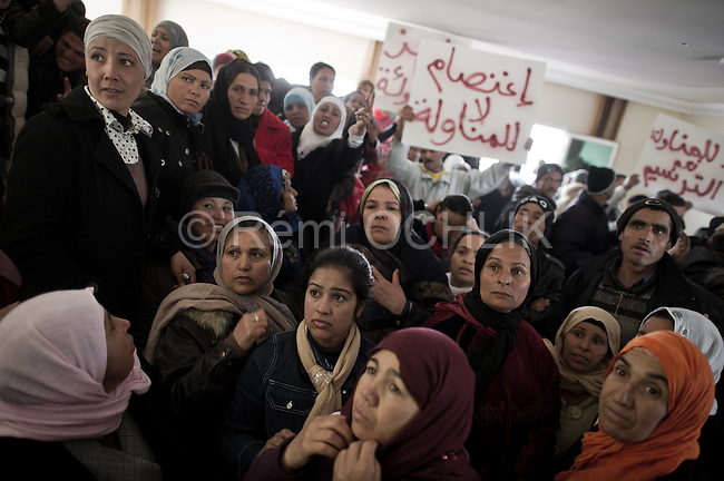 © Remi OCHLIK/IP3 -  Kasserine Tunisia - Saturday 24 January - Women gather in the Tunisian General Union of Labour (UGTT) building to talk and protest about their working condition.The 6 january 2011 a desperate young man  unemployed from set himself on fier in front of the rail way station of Kasserine. Next days demonstrations and riots took place in the citie. Policemen and police snipers  killed 56 protesters.