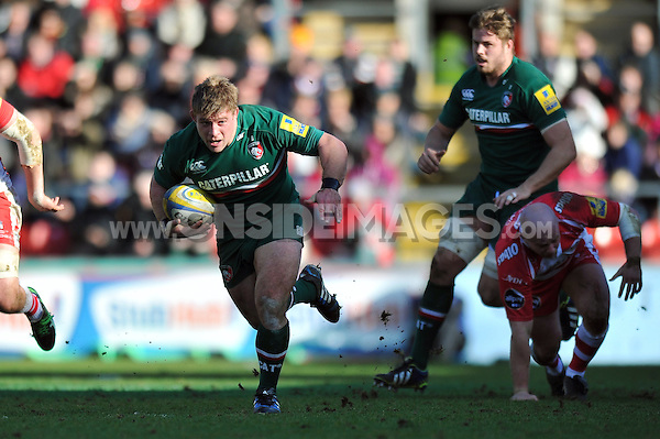 Tom Youngs goes on the attack. Aviva Premiership match, between Leicester Tigers and Gloucester Rugby on February 16, 2014 at Welford Road in Leicester, England. Photo by: Patrick Khachfe / JMP